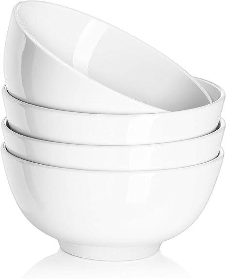 Dowan Ceramic Soup Bowls Cereal Bowl 22 Ounce Bowls Set Chip Resistant Dishwasher Microwave Safe Porcelain Bowls For Kitchen White Bowls For Cereal Soup Rice Pasta Salad Oatmeal Set