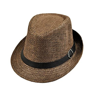 fcac3915b9aea Kissmess Stylish Hat Summer Straw Hat Cap Topee Fedora Trilby Panama Hat  Cap Jazz Hat  Amazon.co.uk  Clothing