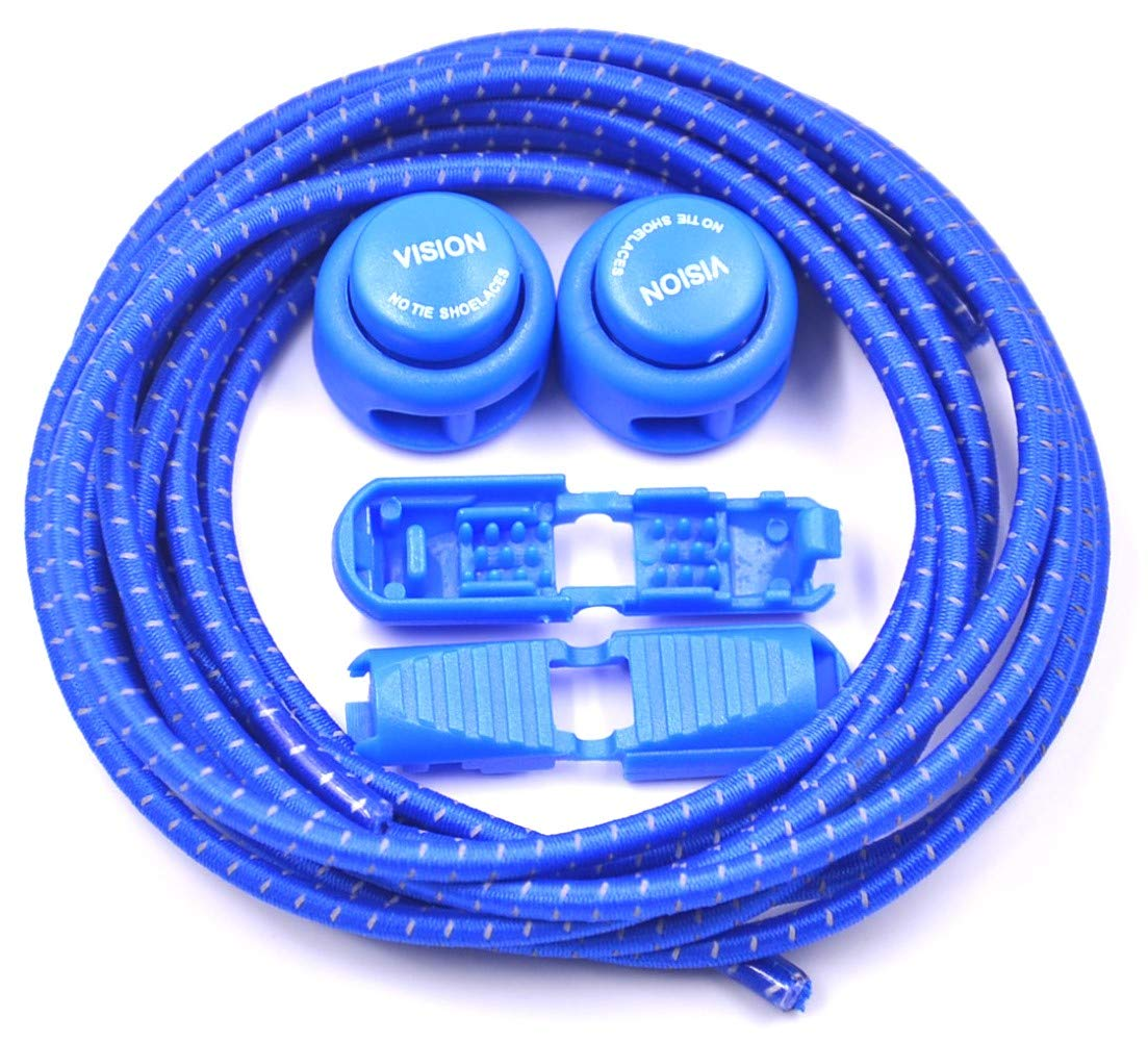Vision No Tie Shoelaces Elastic for Adult and Children/'s Safety. Royal Blue