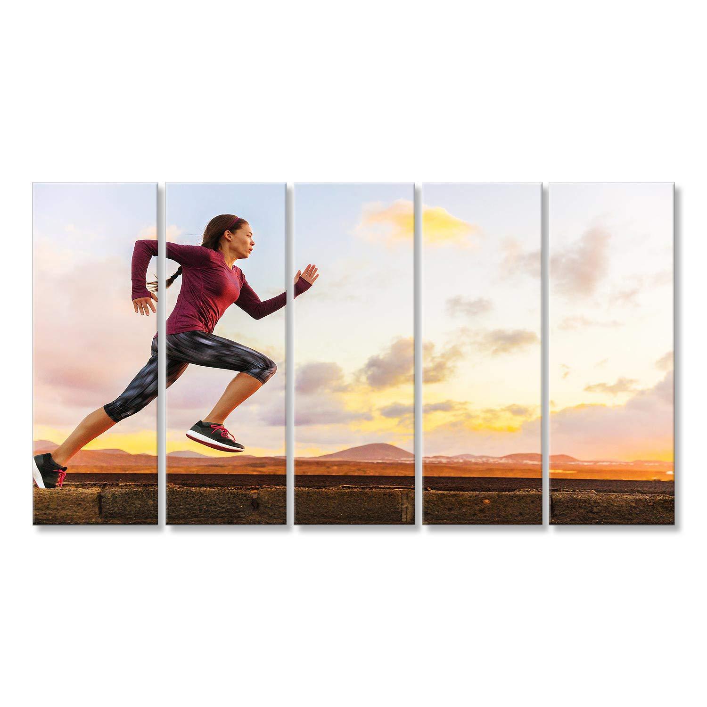 Bild auf Leinwand Laufendes Schattenbild des Athletenhinters eines Frauenläufers bei Sonnenuntergangsonnenaufgang. Cardi KVO-5P-DE
