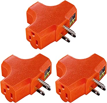3 Pack Plug Extender; Heavy-Duty Grounded Power Tap 3-Outlet Grounding Adapter UL Listed Kasonic