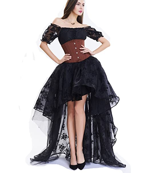 top-rated fashion super cheap compares to Buy Authentic SWISH Women Steampunk Corset Skirt Black Floral Midi Skater ...