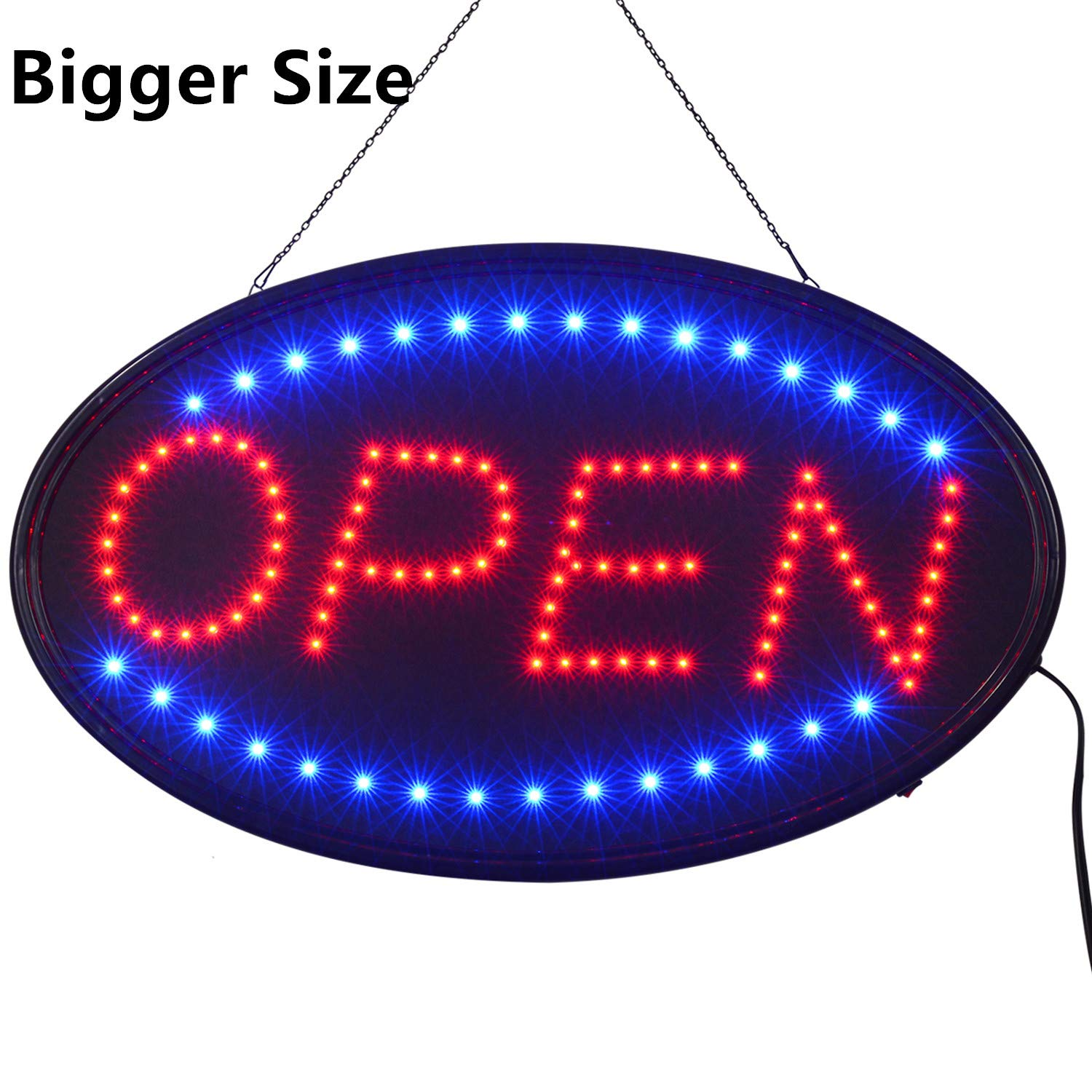 LED Open Sign,23x14inch Larger LED Business Sign,Advertisement Display Board Flashing & Steady Light Open Sign for Business, Walls, Window, Shop, Bar, Hotel by Datedirect (Image #1)