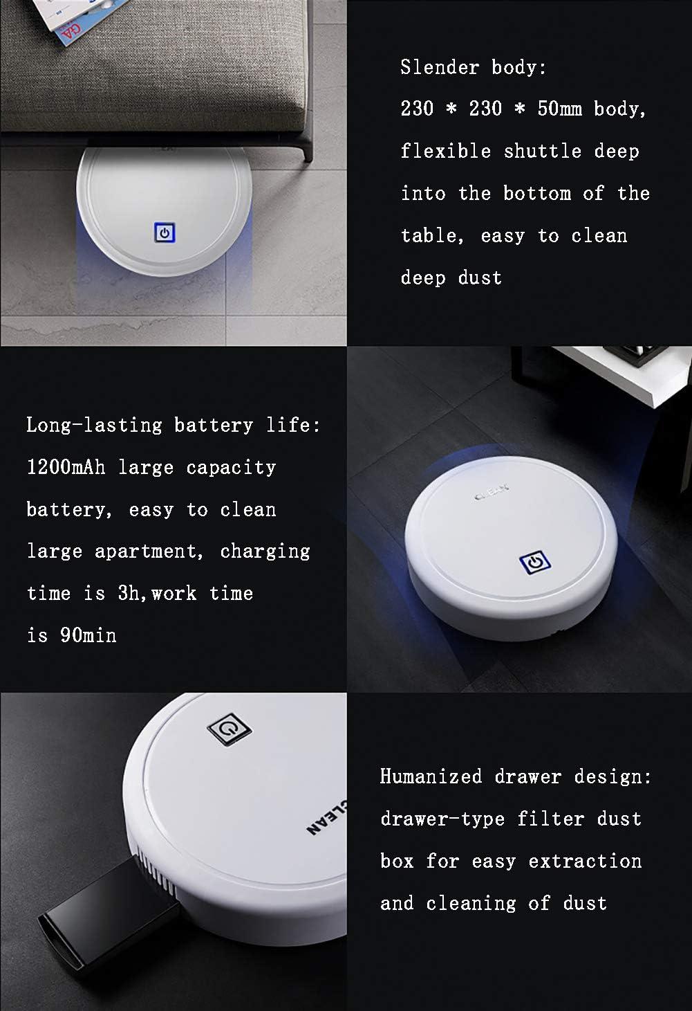 MIMI KING Aspirateur Robot Automatique pour l\'homme Paresseux Balayage Automatique Directeur nettoyant ménager USB Portable de Charge Intelligente sous Vide Balayer,Noir White
