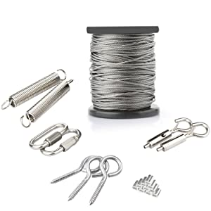 ANDOT OutdoorHangingLight Kit, 1/16Inch,7x7, 130ft Globe String Lights Suspension Kit, 304 Stainless Steel Cable,String Lights Outdoor Rope Perfect for Patio, Garden