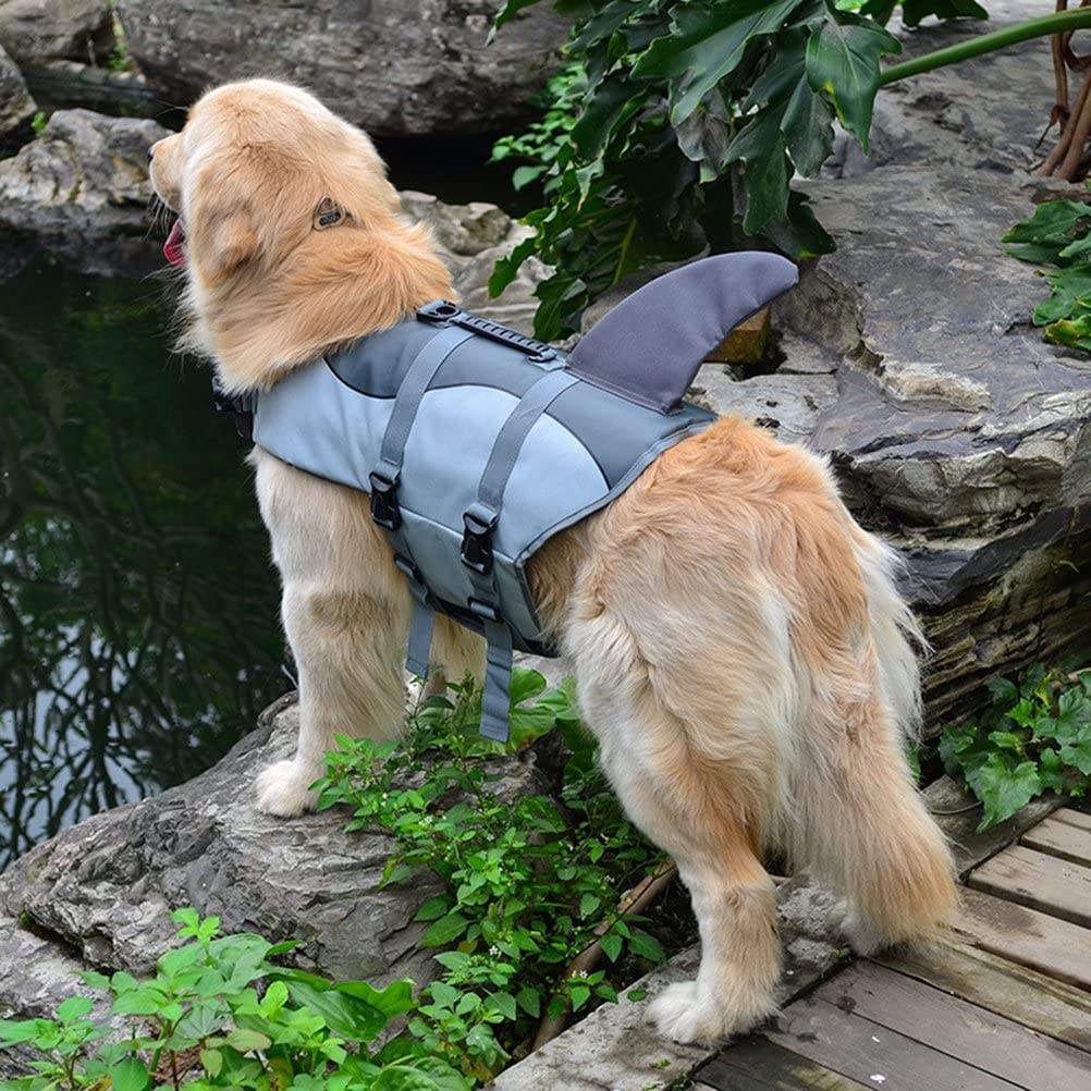 POPETPOP Ripstop Dog Life Jacket Doggie Flotation Device with Superior Buoyancy and Rescue Handle Shark Design Pet Swimming Vest