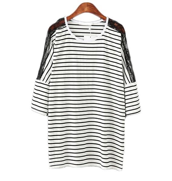 Rayas Blancas Y Negras De Costura Del Cordón De La Camiseta De ...
