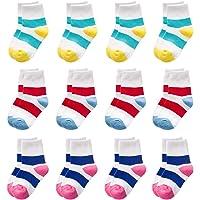 VWU Kids Ankle Socks Colorful Stripes Cotton Socks for Children Girls Boys 12 Pairs