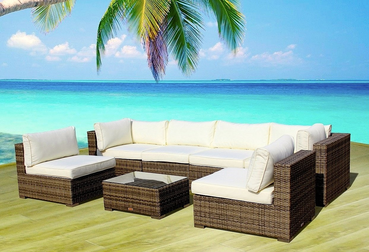 Amazon.com : Outdoor Patio Furniture Sofa Modern All Weather Wicker  Sectional 7pc Rattan Resin Couch Set : Garden U0026 Outdoor