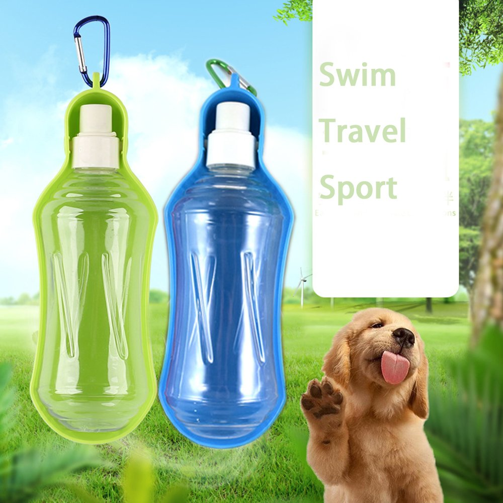 Dog Water Bottle Water Dispenser for Pet Dog Travel Water Kettle Water Dispenser for Pet Feeder for Small Animals with Hanging Buckle Accessory 500ML (Green)