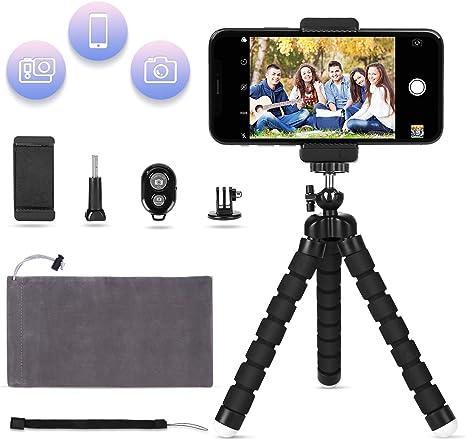 LOETAD Mini Trípode Flexible con Control Remoto Bluetooth Soporte para Smartphone Móvil y Adaptador para Cámara Digital Gopro: Amazon.es: Electrónica