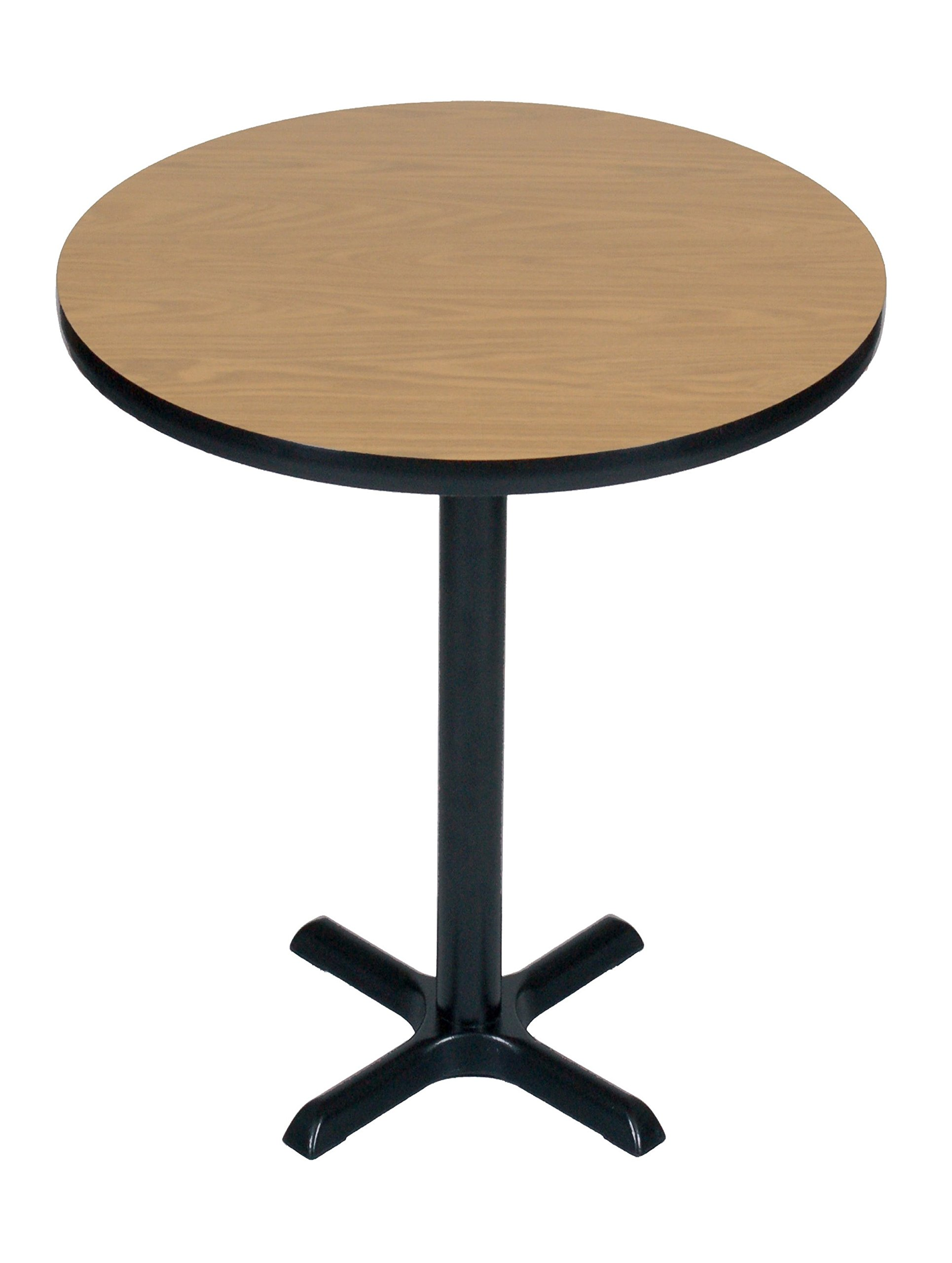 Correll BXB24R-06 -24'' Round 42'' Standing / Barstool Height , Café, & Break Room Table, Medium Oak Top & Black Base, Made in the USA by Correll