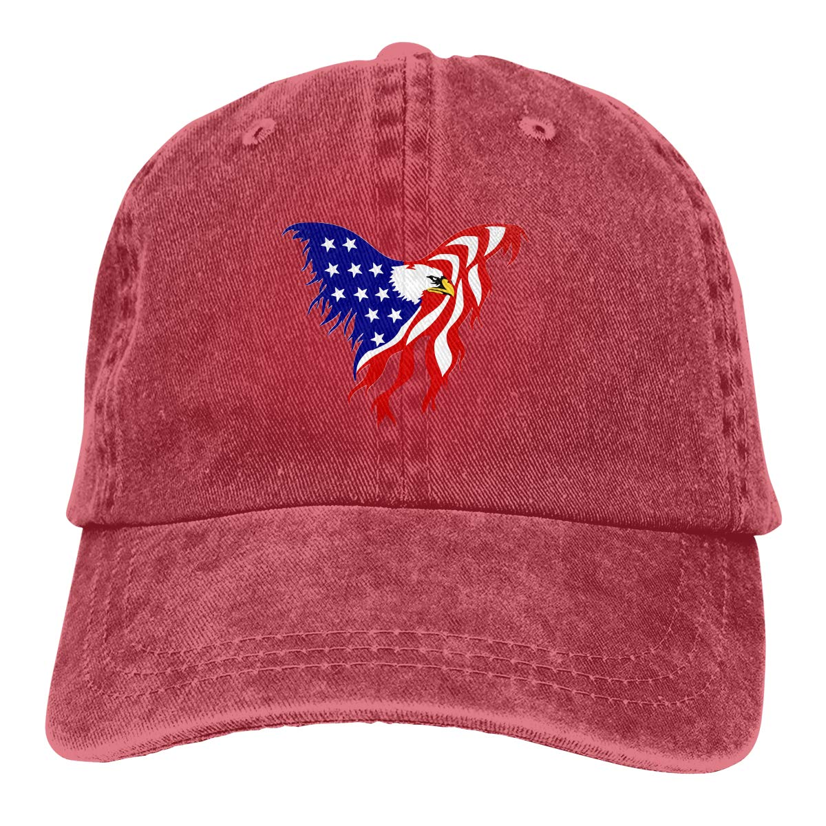 Eagle USA Flag Fashion Adjustable Cowboy Cap Denim Hat for Women and Men