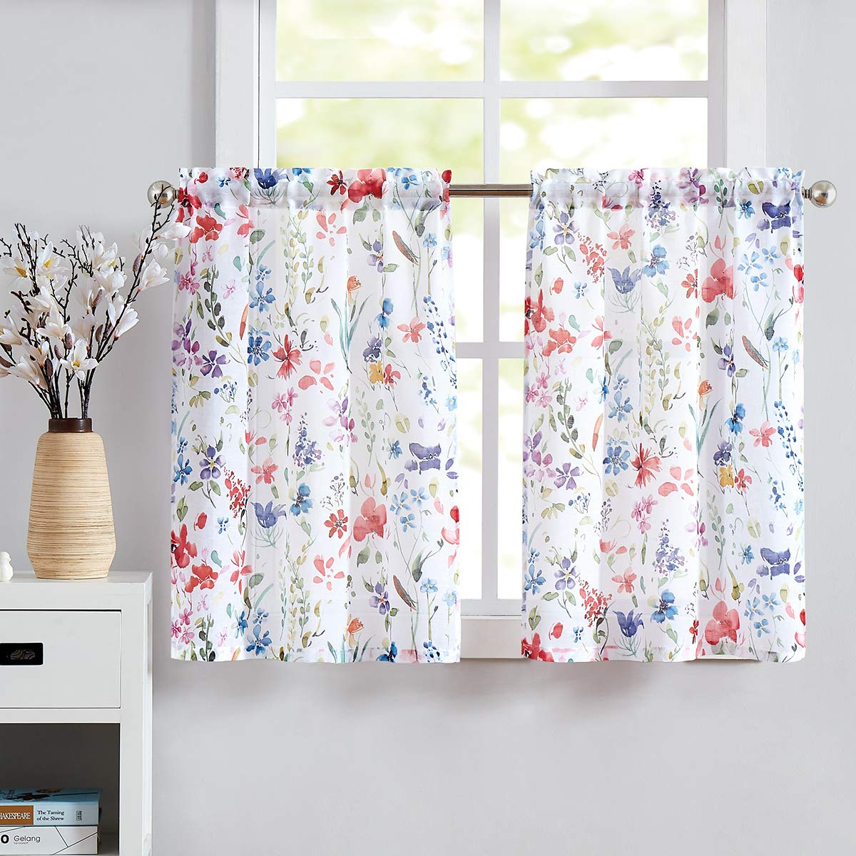 "Fragrantex Printed Kitchen Tier Curtains 36"" Sheer Café Curtains Linen Cotton-Like Tiers Multi-Color Short Half Window Curtain Set for Bathroom 28"" w x 2 Panels"