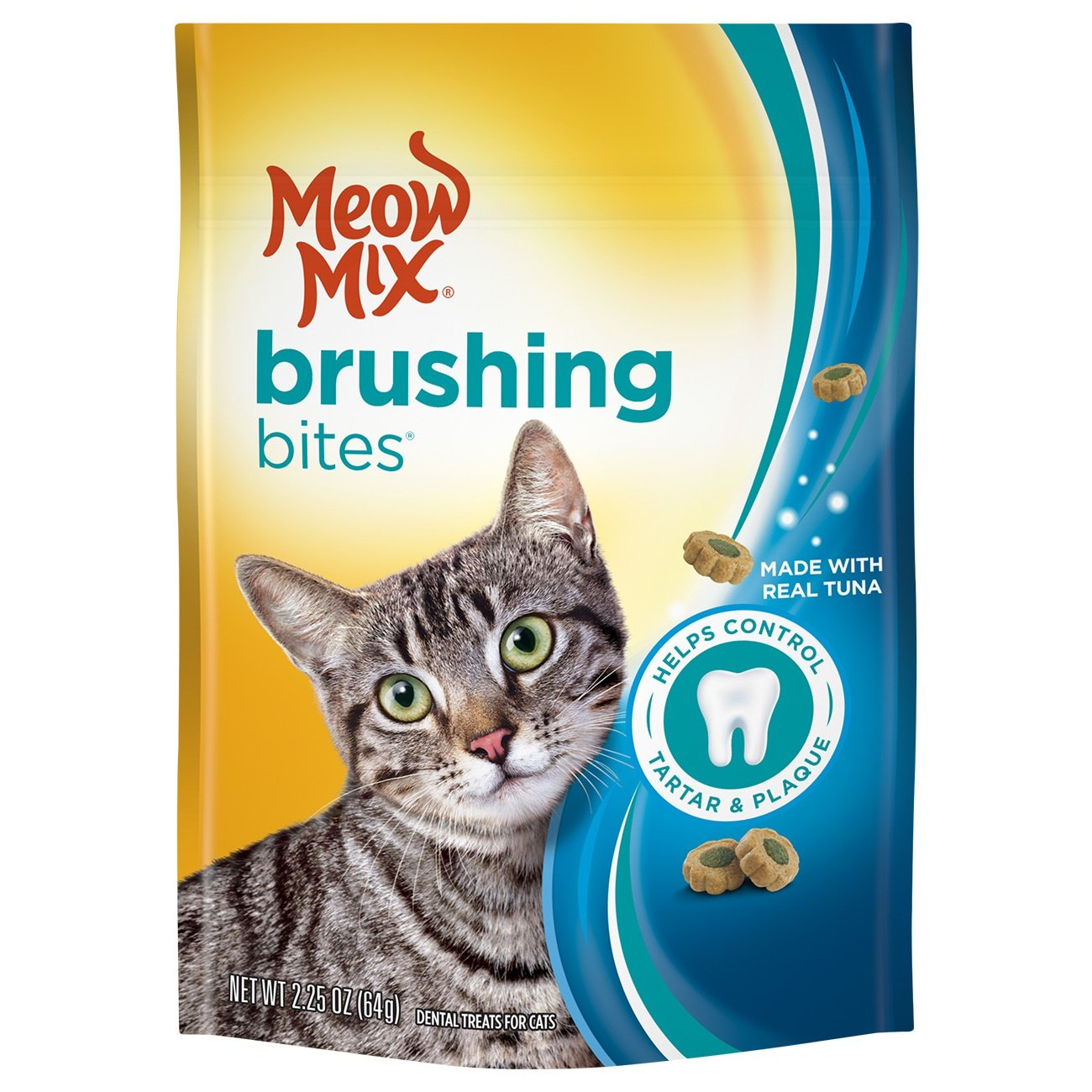 Meow Mix Brushing Bites Cat Dental Treats Made with Real Tuna, 2.25 oz (Pack of 5)