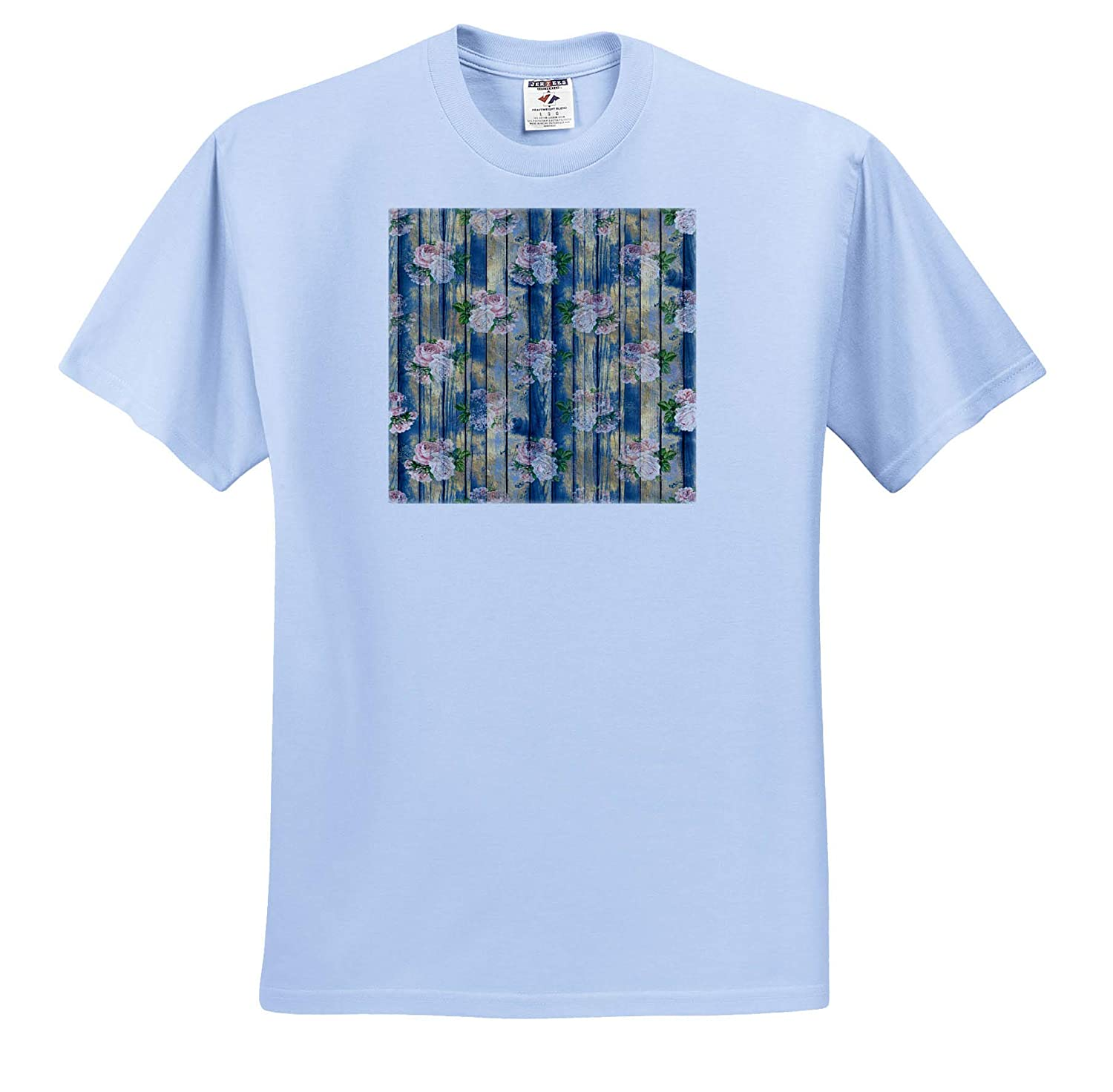 3dRose Anne Marie Baugh Pretty Pink Roses On an Image of Blue Wood Pattern Patterns Adult T-Shirt XL ts/_317602