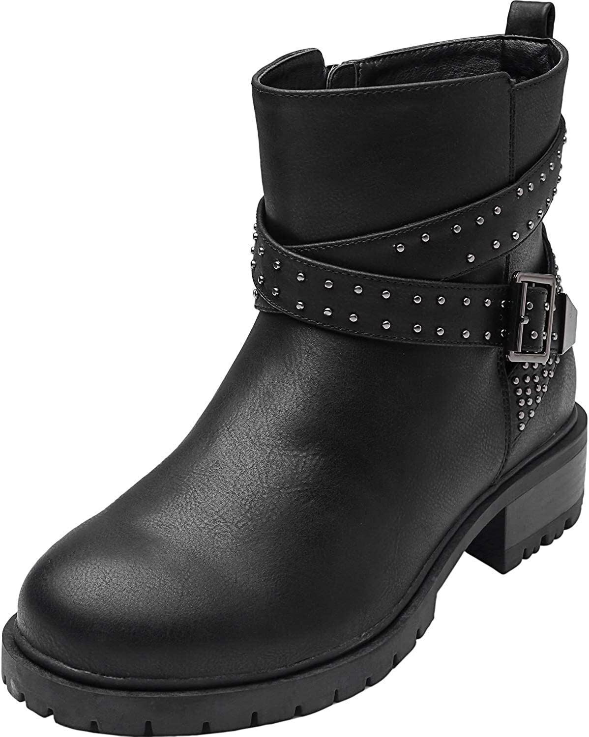 Luoika Womens Wide Width Ankle Boots Mid Chunky Block Heels Round Toe Slip on Side Zipper Booties.