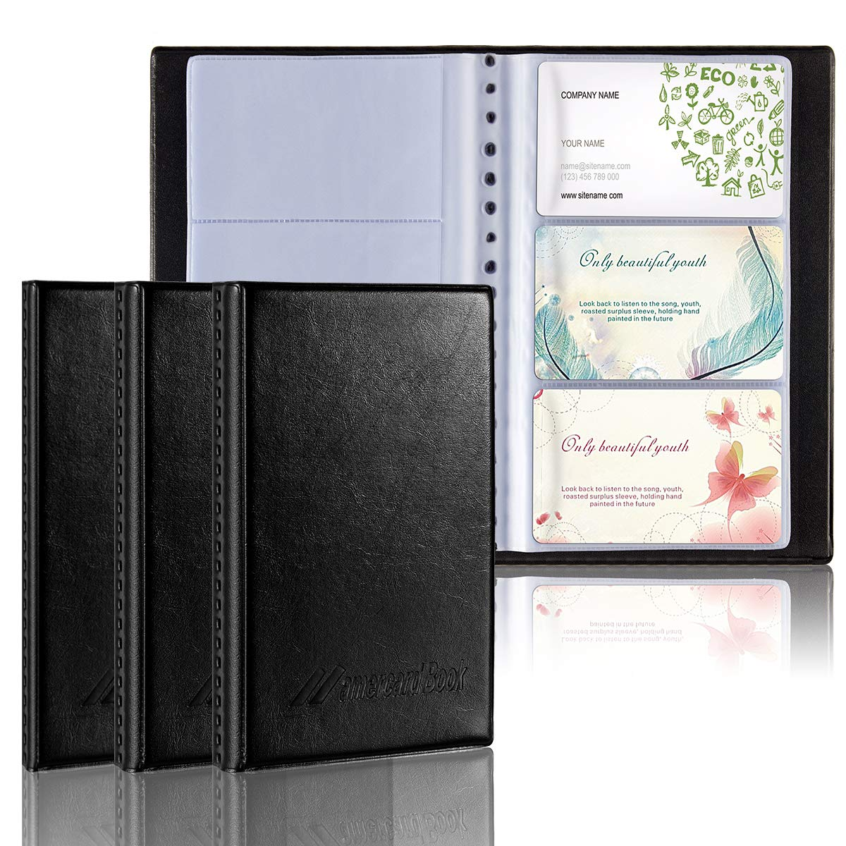Anphsin 3 Pack Business Card Holder Book, PU Leather Card Organizer for Name Credit Office Business Card (Hold 120+240+300 Cards)