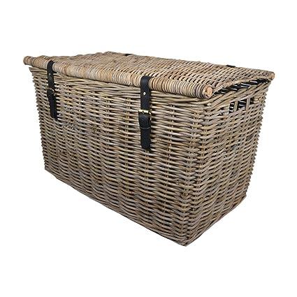 Cesta grande de mimbre Kubu Baúl/caja para juguetes/cesta de Navidad