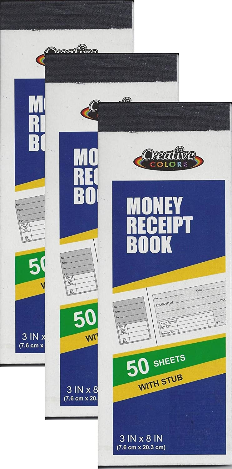 3 Creative Colors Money Receipt 50 Sheets Book with Copy Stub