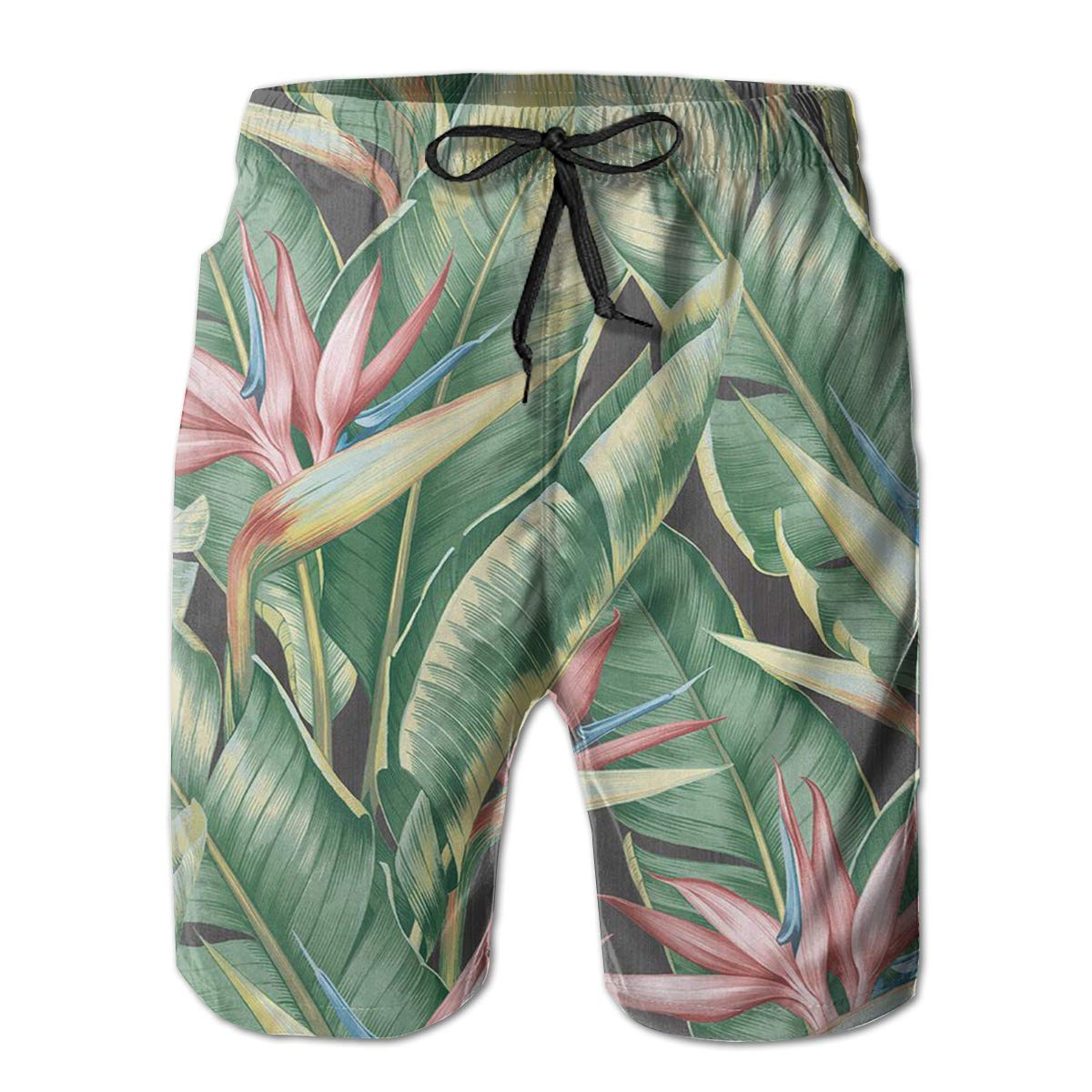 Hateone Life Mens Beach Shorts Quick Dry Leaf Kenneth James Summer Holiday Mesh Lining Swimwear Board Shorts with Pockets XXL