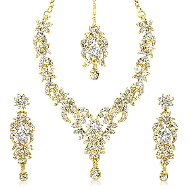 568d9a0653 Sukkhi Gold Plated Australian Diamond Choker Necklace With Drop Earrings And  Mangtikka Set or Women