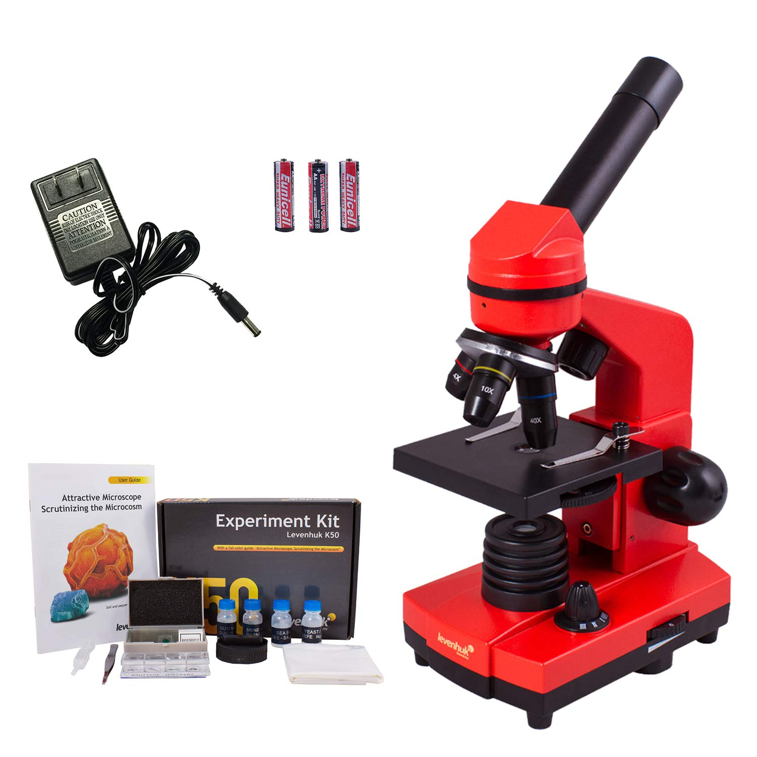 Levenhuk Rainbow 2L Orange Portable Microscope for Children with Experiment Kit, Upper and Lower LED Light for Observing All Kinds of Samples by Levenhuk