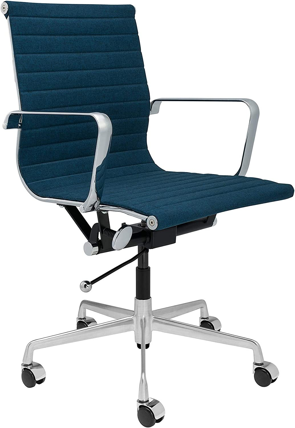 SOHO Ribbed Management Office Chair (Dark Blue Fabric)
