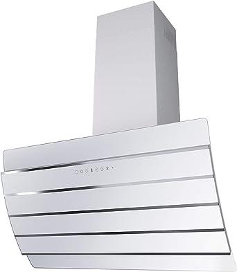 SOGELUX HCBA90BF - Campana extractora inclinada (acero inoxidable y cristal), color blanco: Amazon.es: Grandes electrodomésticos