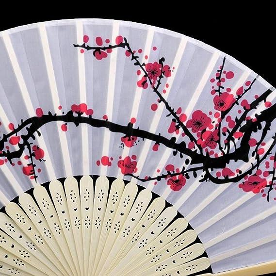 Ruiting Ventilateur Chinois,Eventail en Tissu Pliable pour D/écoration de Maison Fleur de Prunier 3PCS