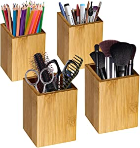 Pencil Cup Holder,4 Pack Bamboo Wood Desk Pen Holder Stand Multi Purpose Use Pen Cup Pot Desk Accessories,Desktop Organizer Pencil Holder Ideal Gift for Office Home