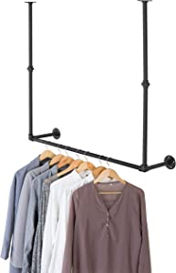 MyGift 40-inch Adjustable Height Industrial Pipe Black Metal Wall and Ceiling Mounted Clothing Rack