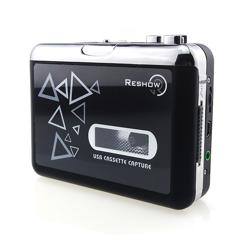 Reshow Lecteur Cassette - Lecteur Cassette portable pour Capturer la musique audio MP3 via USB - Compatible avec les ordinateurs portables et les PC - Convertir cassettes de bande Walkman au format iPod