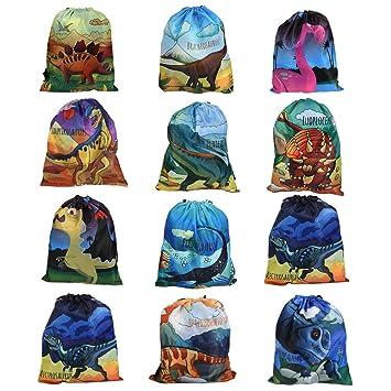 BUYGOO 12Pcs Bolsa de Dinosaurios Fiesta de cumpleaños Ideas Reutilizables Bolsas de Cuerdas de Regalo para artículos de Fiesta, Bolsas de Mochila con ...