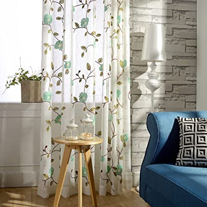 Embroidered Window Sheer Curtains For Living Room Light Blue Flower Country Rustic Transparent Tulle Voile Curtain