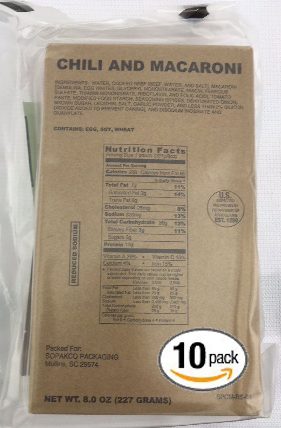 Pack of 10 SOPAKCO Sure-Pak MRE Reduced Sodium Emergency Ration Meals - Ready to Eat Variety Factory Sealed by Sure-Pack (Image #1)