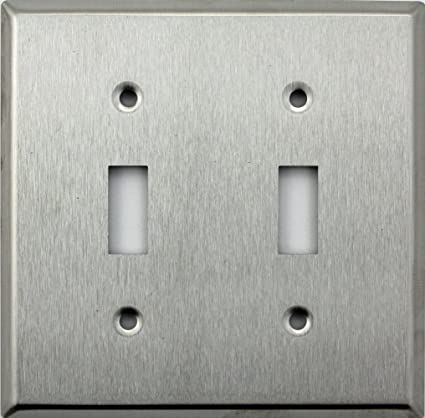 Brushed Satin Stainless Steel Two Gang Toggle Switch Wall Plate