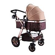 Happybuy Luxury Newborn Baby Stroller High View Carriage Infant Stroller Foldable Pram Stroller Pushchair (Stroller)
