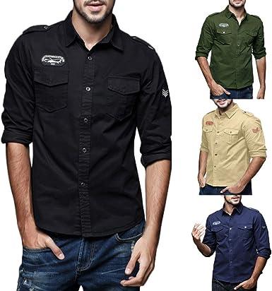 Gogoodgo Camisa Militar para Hombre, Botones Delgados, Manga Larga, Insignia de Hombro, Blusa con Bolsillos Dobles - Negro - Large: Amazon.es: Ropa y accesorios