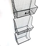 Crazyworldstore 3 Tiers Hanging Wall File Organizer Key Letter Holder Wall Mount Wire Rack Hanger Organizer Storage Black
