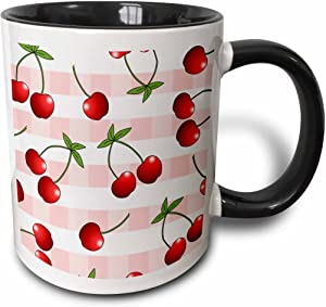 3dRose Print Juicy Red Cherries on Pink Check-Two Tone Black Mug, 11-Ounce, Multicolored