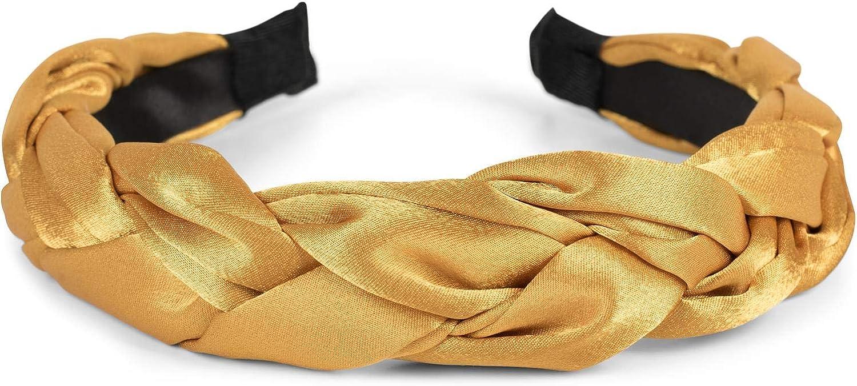 styleBREAKER Diadema de Mujer con Nudos en /óptica de Cuero Artificial Cinta para la Cabeza de Estilo Retro 04026046