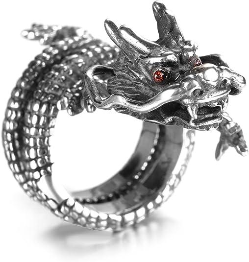 hijones Messieurs mill/ésime Anneau Yeux de dragon de lemballage rouge acier inoxydable