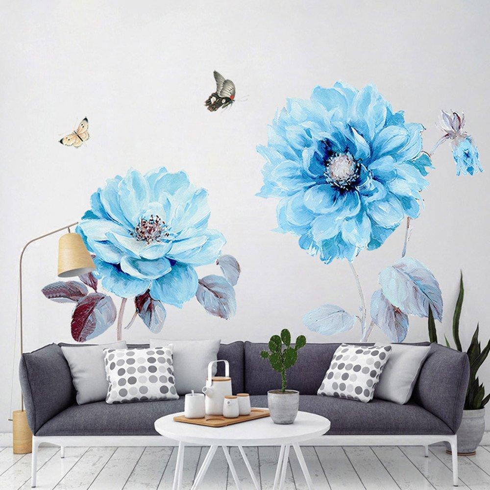 Alicemall Sticker Mural Bleu Fleur Papillon en PVC Autocollant Mural Chambre Décoration Mural Chambre (5)