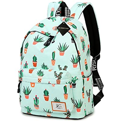 50%OFF School Bookbag for Girls, Cute Water Resistant Laptop Backpack College Bags (Water Blue-Cactus)