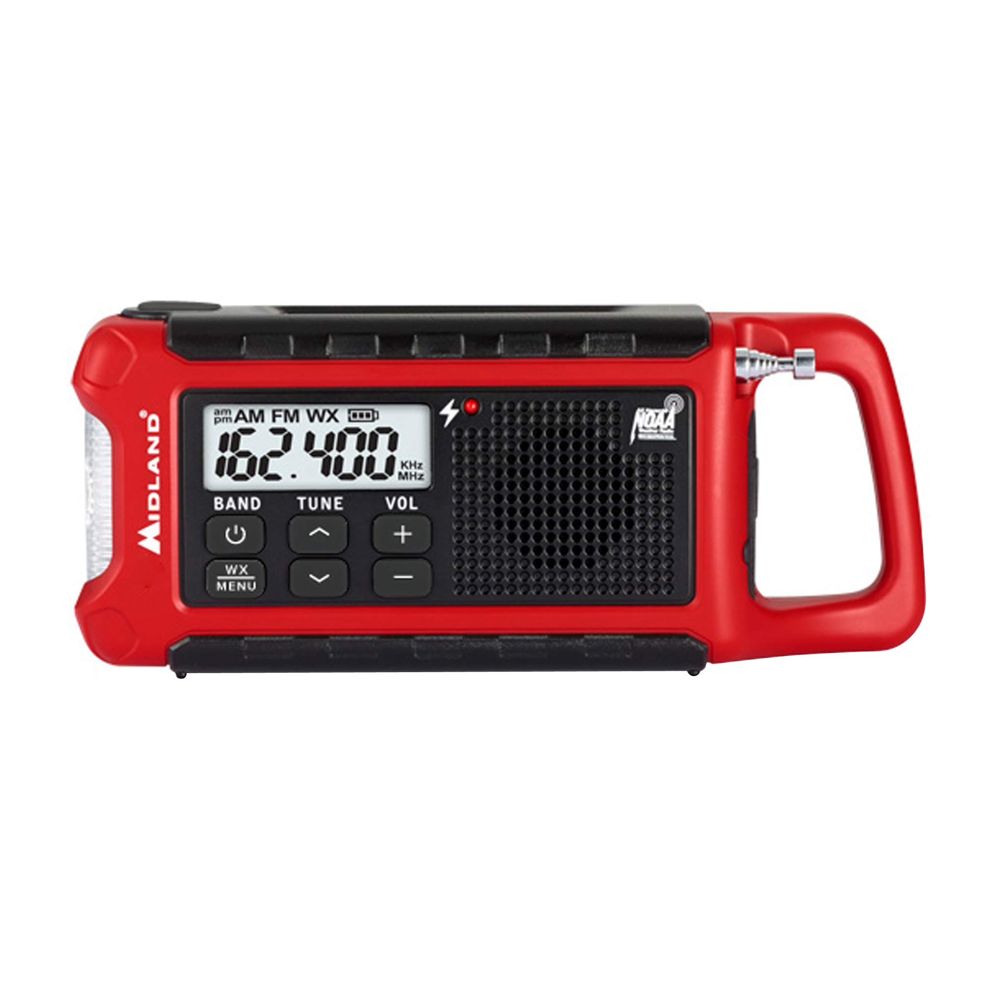 Midland - ER210, Emergency Compact Crank Weather AM/FM Radio - Multiple Power Sources, SOS Emergency Flashlight, NOAA Weather Scan + Alert, & Smartphone/Tablet Charger (Red/Black)