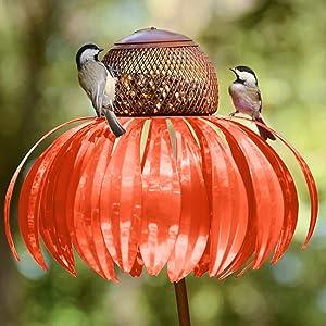 Wild Bird Feeder Hanging for Garden Coneflower Bird Feeder, Perfect for Attracting Birds Best Hummingbird Feeder, Yard Outside Decoration, Easy to Clean, Spring Summer Decor (1PC Orange)