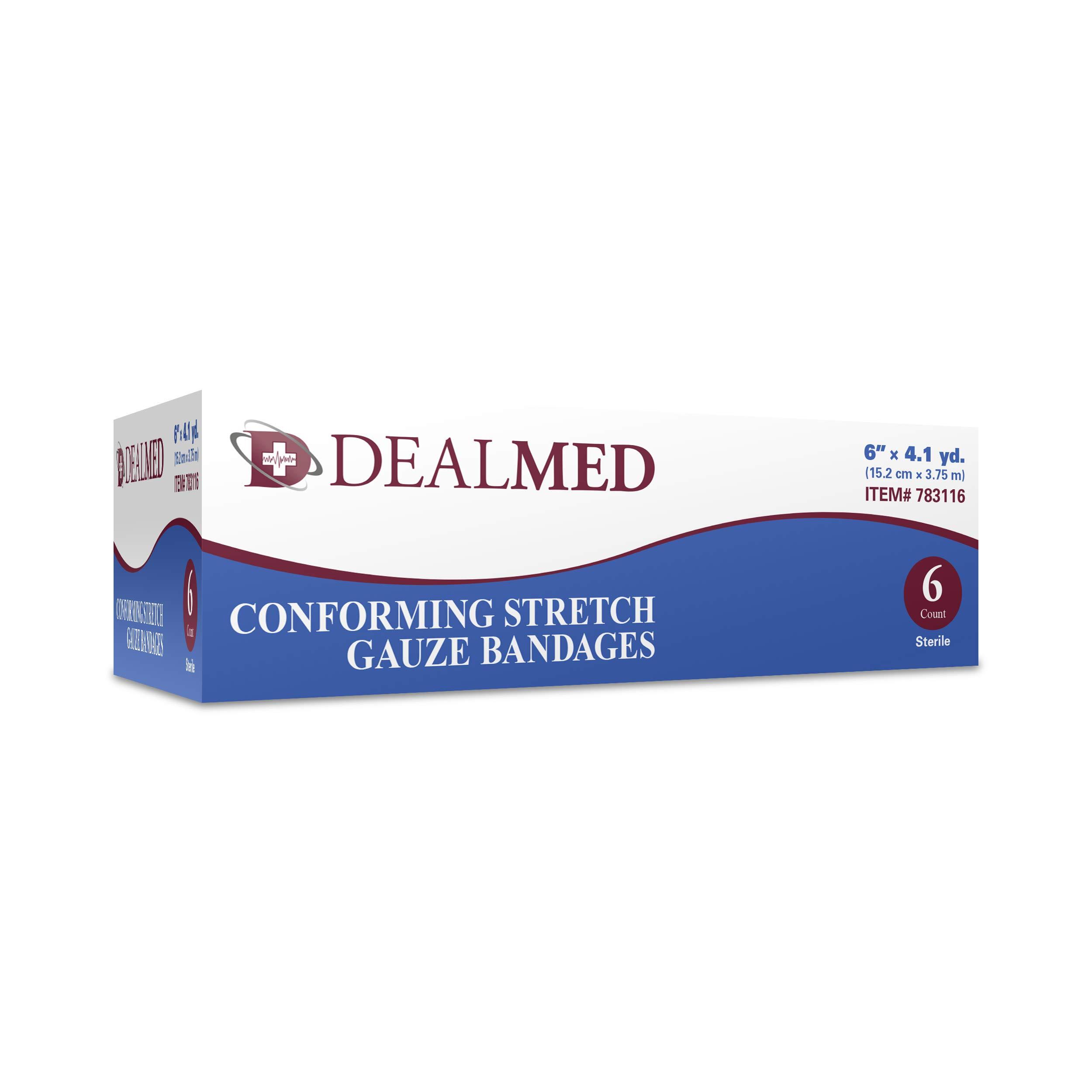 Dealmed 6'' Sterile Conforming Stretch Gauze Bandages, 4.1 Yards Stretched, 6 Rolls