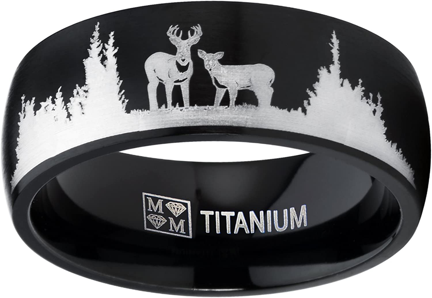 Metal Masters Co. Men's Black Outdoor Hunting Titanium Ring Wedding Band with Laser Etched Deer Stag Scene 8mm