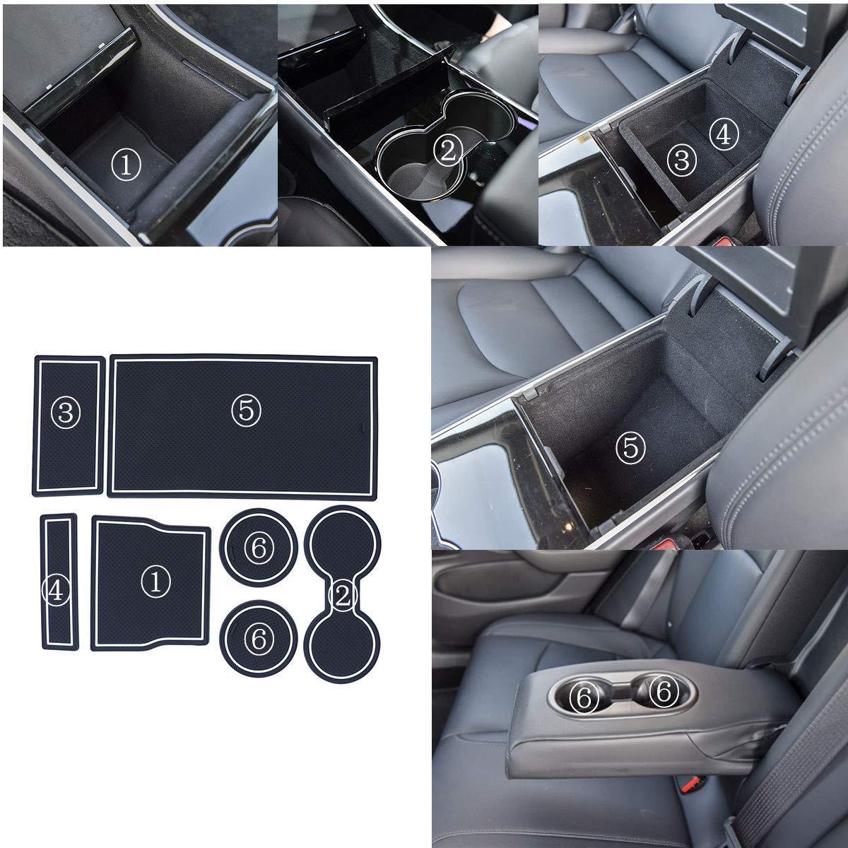 JDopption Car Styling Rubber Gate Slot Pad Mat Cup Mat for Tesla Model 3 2017 2018 2019 White